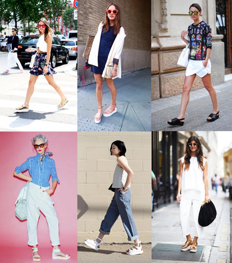 flatforms calças saias sandálias