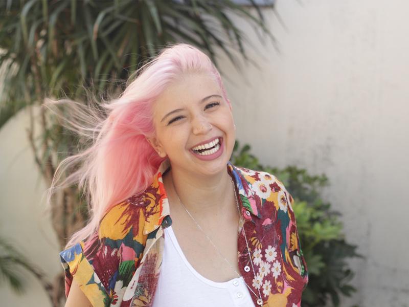 look do dia cabelo rosa candy farm destaque