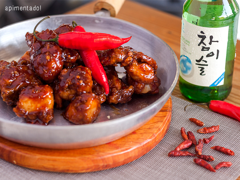 oppa dak frango frito coreano apimentado