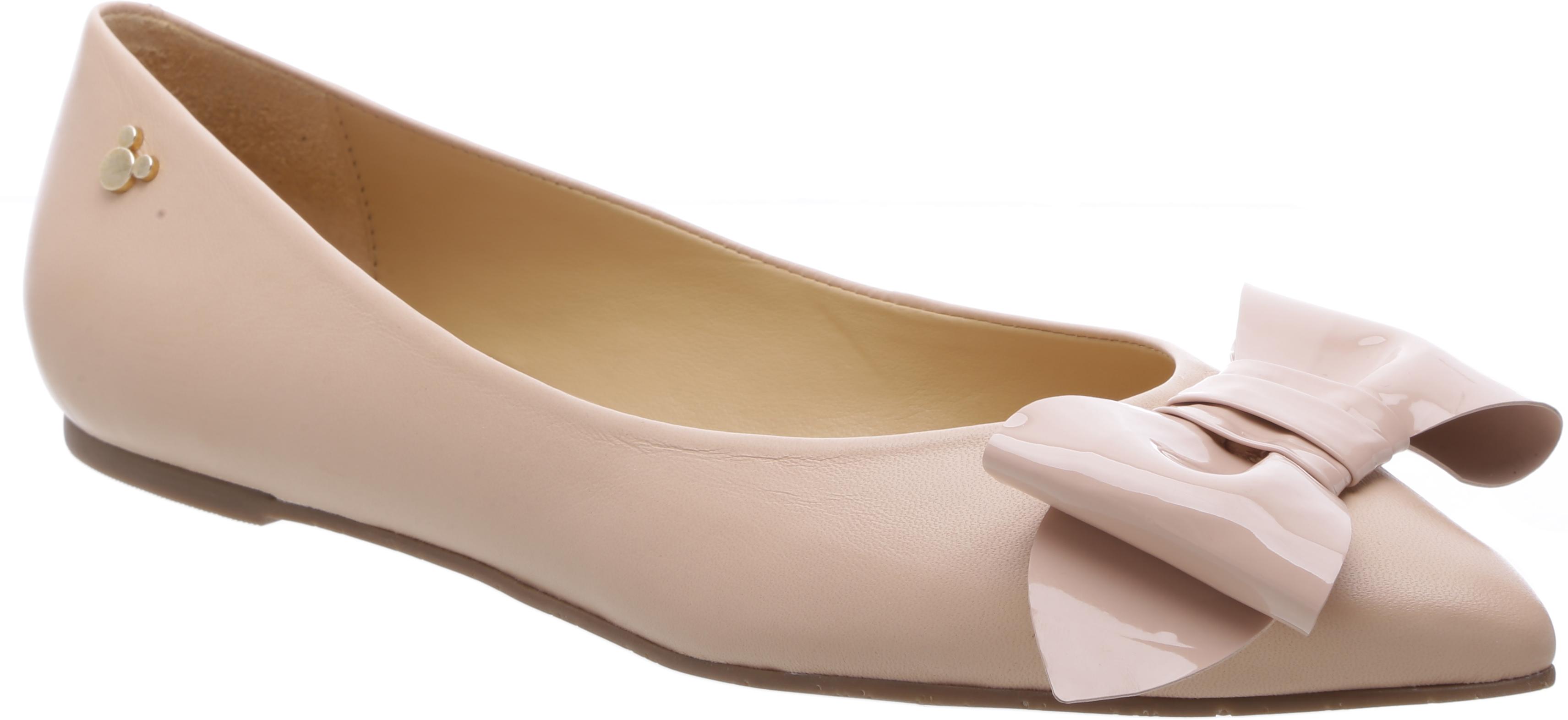 A sapatilha de bico fino ficou linda com o laço aplicado. Essa cor é a Peach Rose. R$ 249,90