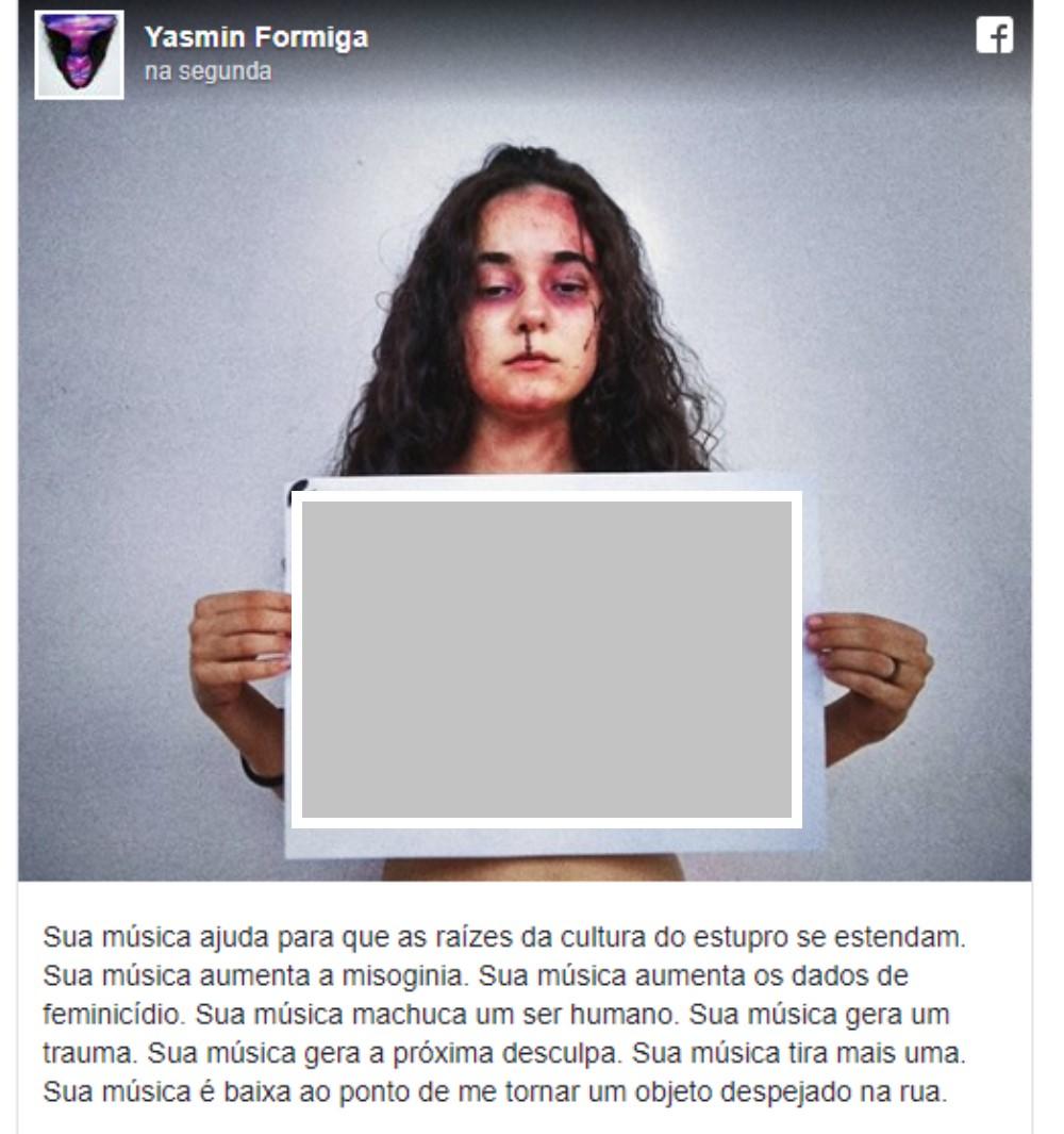 Foto de Yasmin Formiga que denunciou a letra da tal música - apaguei a letra