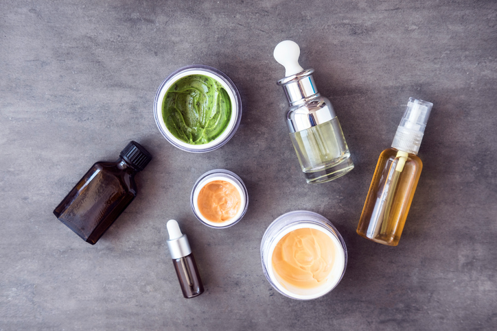 Bottles and jars with natural cosmetics