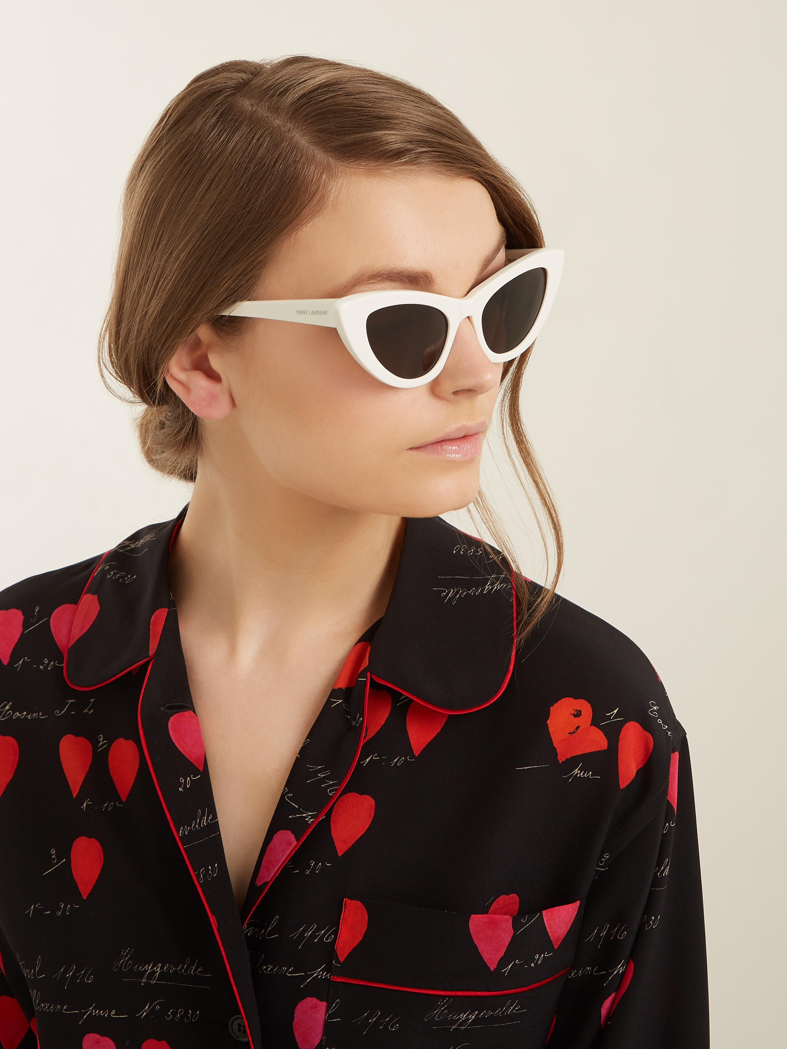 saint-laurent-CREAM-Lily-Cat-eye-Frame-Acetate-Sunglasses