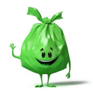saco verde de lixo organico suecia