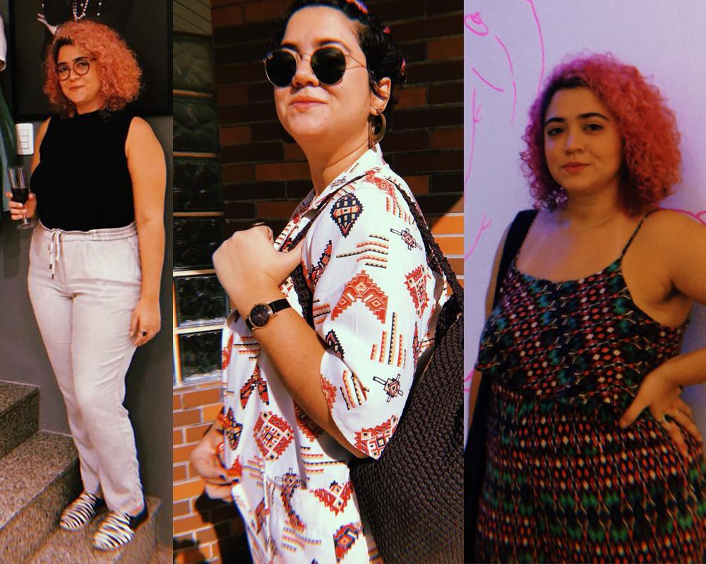 Alguns dos meus looks com peças de brechó - da esquerda para a direita: a blusa e a calça, o blazer e os brincos, o macacão