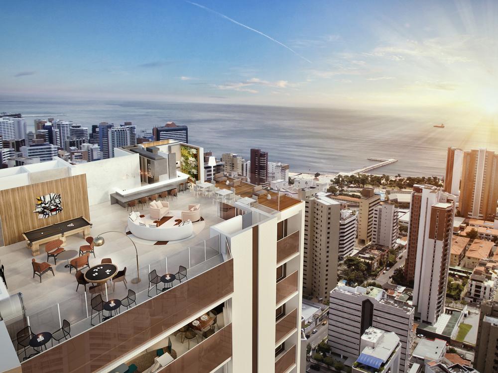 Perspectiva artistica da vista panoramica do Rooftop Gourmet para o skyline da cidade com destaque para o mar