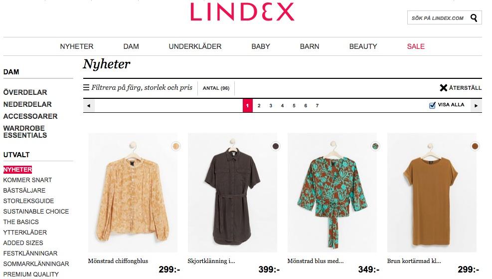 A título de ilustração, entrei no site da loja Lindex e cliquei nas novidades. Estas são as peças mais novas. Estamos no verão.