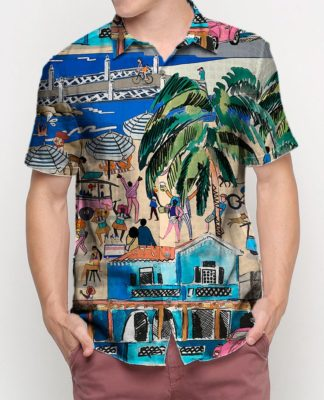 homem com camisa estampada com ilustração da beira mar de fortaleza